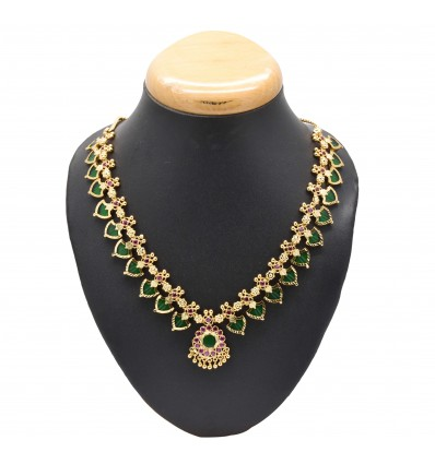Gold Plated Ethnic Red Palakka Necklace