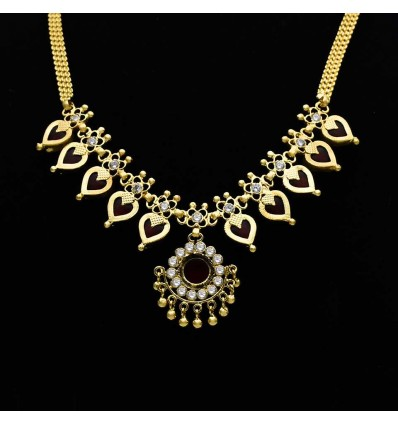 Kerala Traditional Enamel Heart Design One Gram Gold Necklace