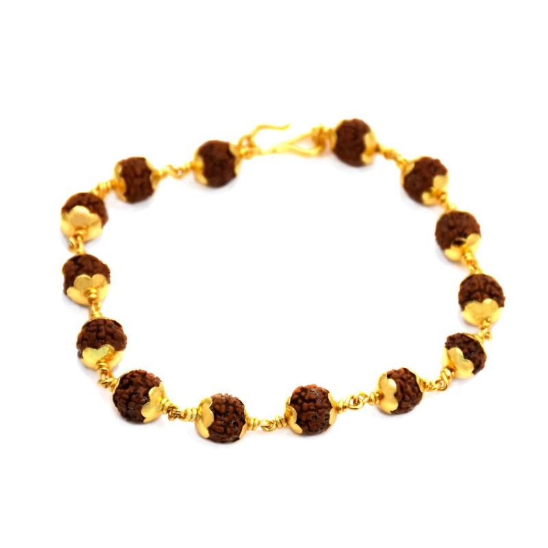 Gold Plated Designer Gent S Rudraksha Bracelet