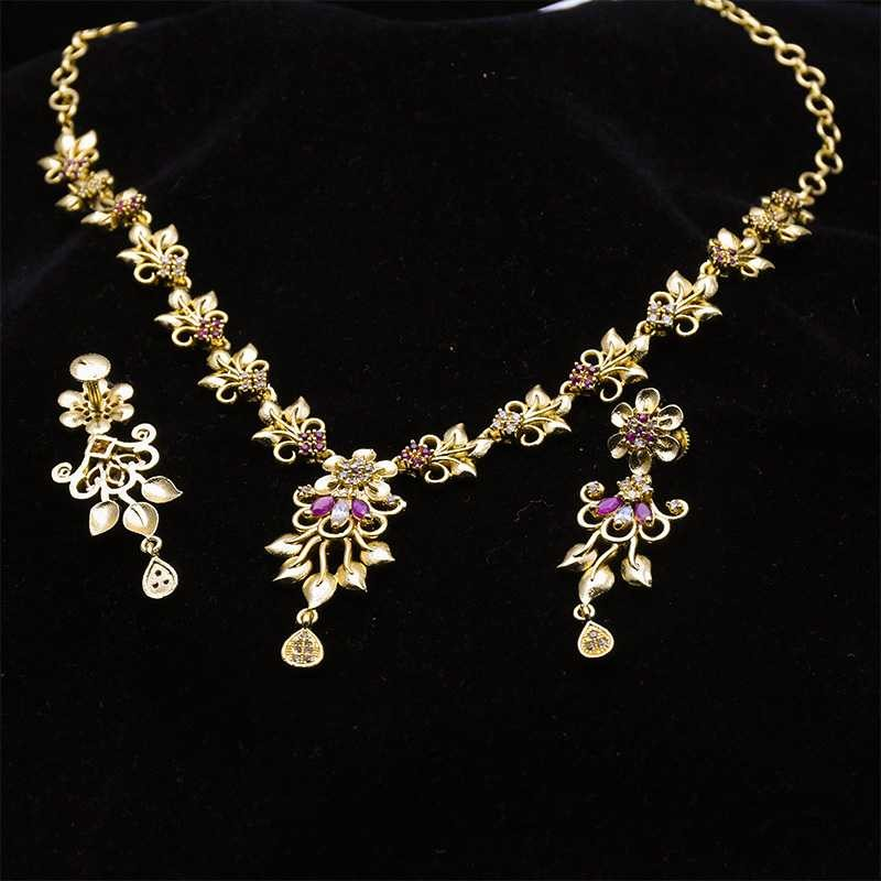 goldplated gold stunning ad online design buy stone leaf ruby necklace micro plated set kollamsupreme designed