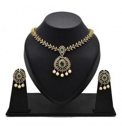 Mind-blowing American Diamond Ruby/Emerald Stone Necklace Set