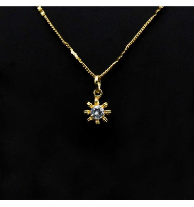 Cute And Tiny Gold Plated White Stone Studded Floral Pendant in Simple Chain