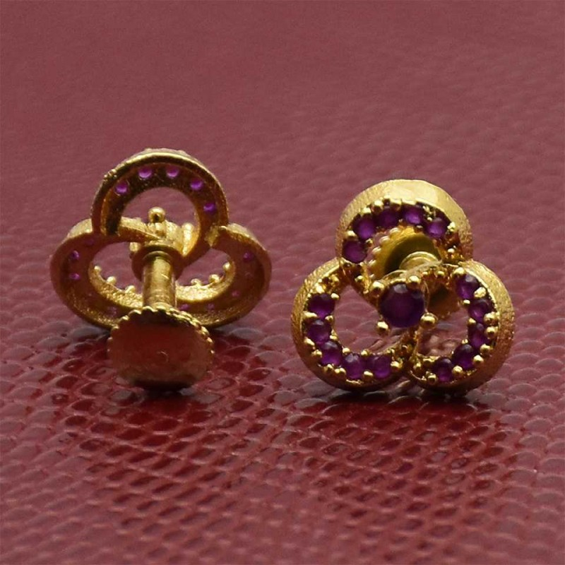 Tiny Gold Plated Semi Precious Ruby Ear Studs
