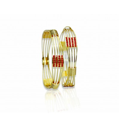 Five Layer Bangles with Red Stones
