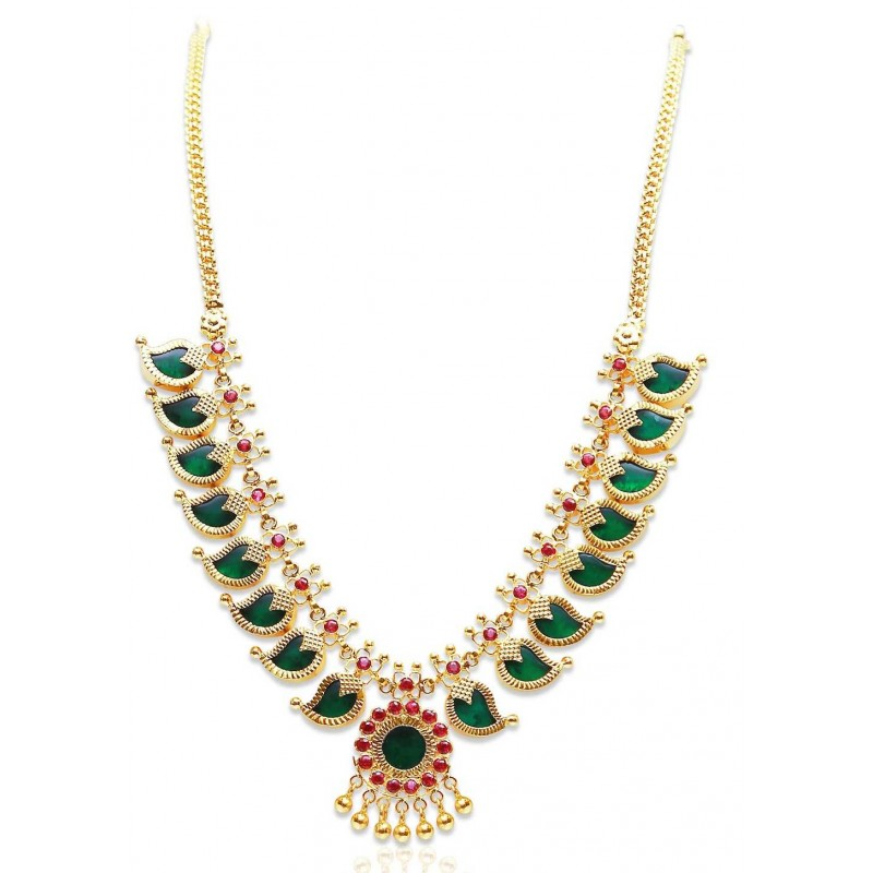 Buy Traditional Green Mango Necklaces Online|Kollam Supreme