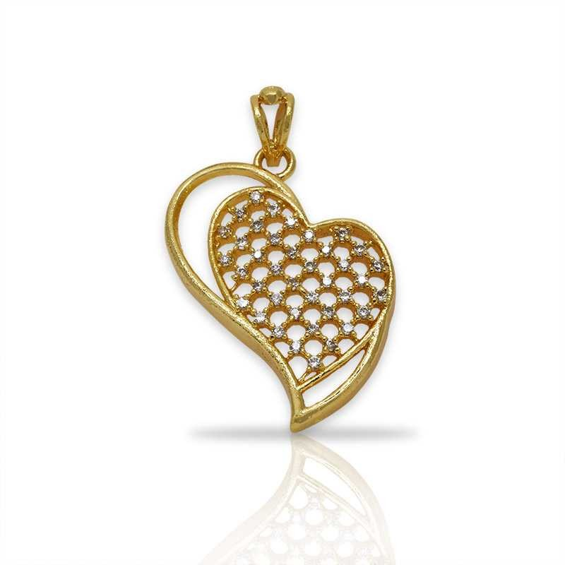 Premium gold plated small cz heart pendant buy online kollam supreme stylish white stone studded heart design pendant mozeypictures Gallery