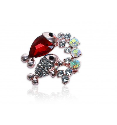Red Glass Crystal Fish Brooch