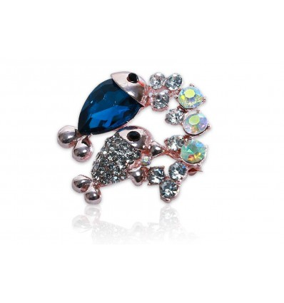 Dark Blue Glass Crystal Fish Brooch