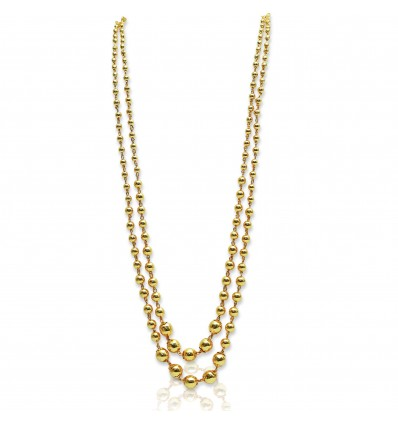 Double Strand Gold Ball Chain Necklace