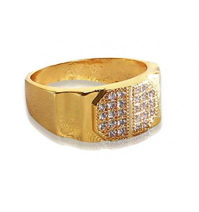 Gold plated Gent's CZ Stone Finger Ring