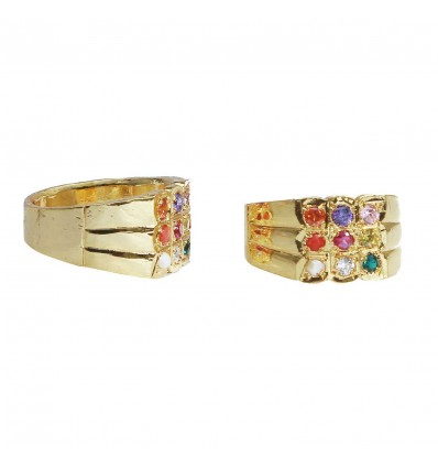Gold plated Gent's Navaratna Finger Ring