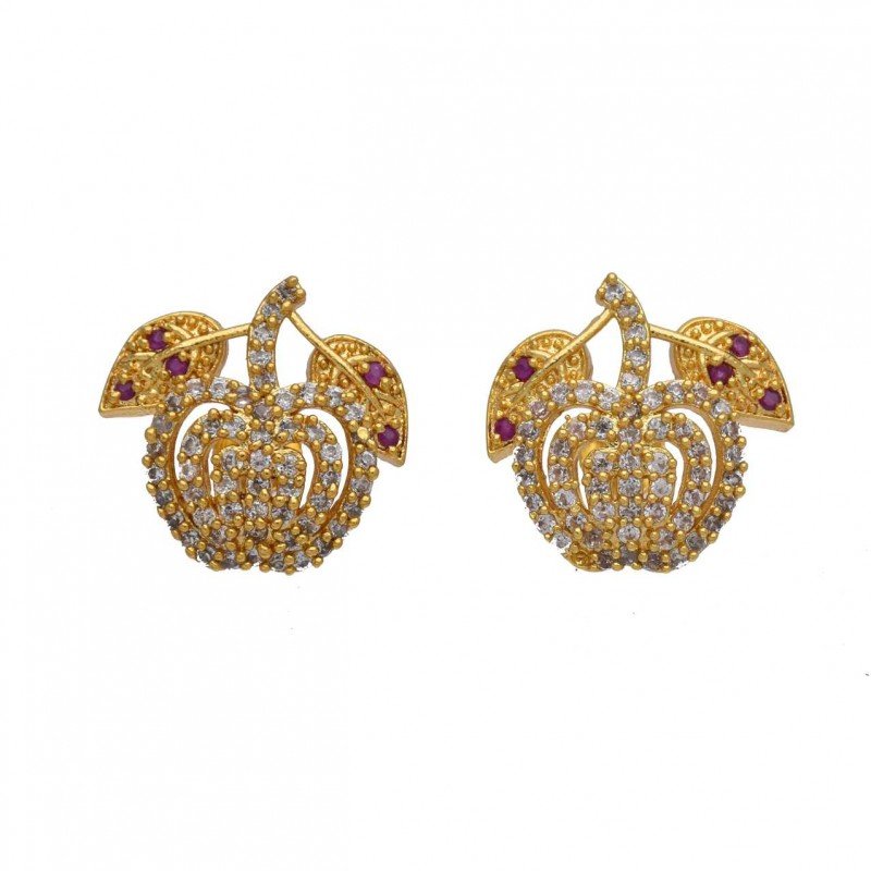 Cz Ruby Stones Gold Plated Apple Ear Studs Buy Online Kollam Supreme