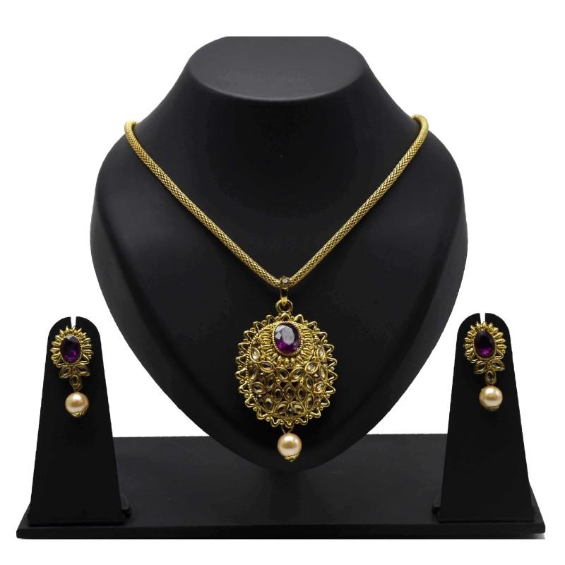 5bf8efd766 Buy Imitation Kundan Stone Pendant Set Online|Kollam Supreme