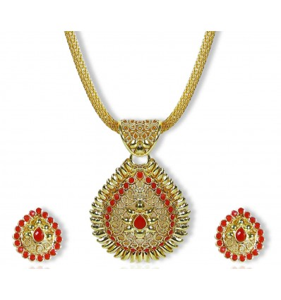Gold plated net chain with Red stone Pendant set