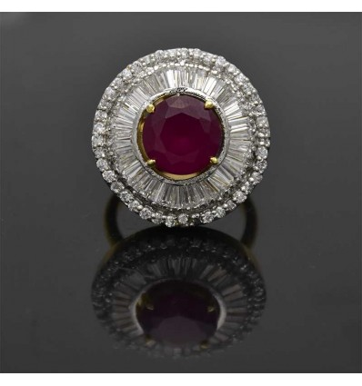 White Gold Ruby Round Finger Rings