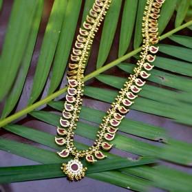 Premium Gold Plated Red Mango Long Chain/ Mangamala