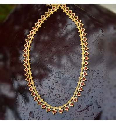 One Gram Gold Kerala Traditional Green Palakka Long Chain