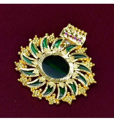 Premium Gold Plated Chain With Green Pulinakham Pendant Set