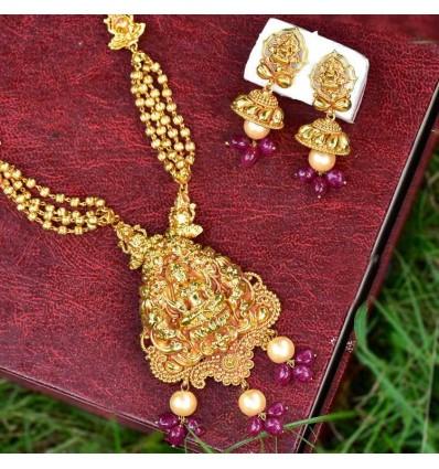 Premium Gold Plated Antique Lakshmi Long Chain set