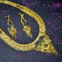 Gold Plated Peacock Meenakari Bridal Long Neckalce Set