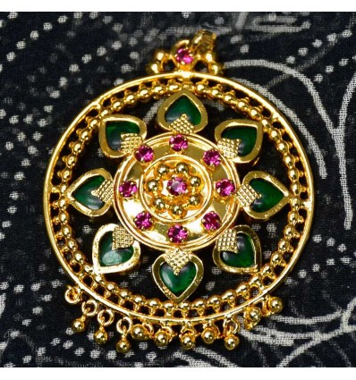 Premium Gold Plated Green Mango Pendant With Golden Bead Hangings