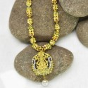 One gram Gold Plated Ruby Emerald Necklace with Lakshmi Pendant