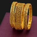 Gold Plated Antique Stone Bangles Set