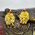 Designer White and Magenta Gold Plated Floral Stud with Drops