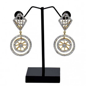 Dazzling Wheel Design White Gold American Diamond Earrings