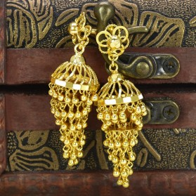 Gold Plated Six Steps Plain Jhumkas/Jimikki Earrings