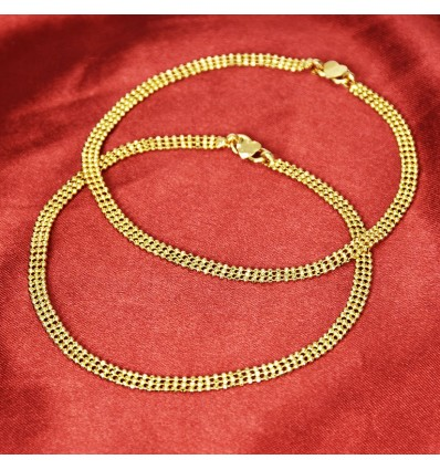 Classy Thin Gold Plated Designer Bead Anklets Payal