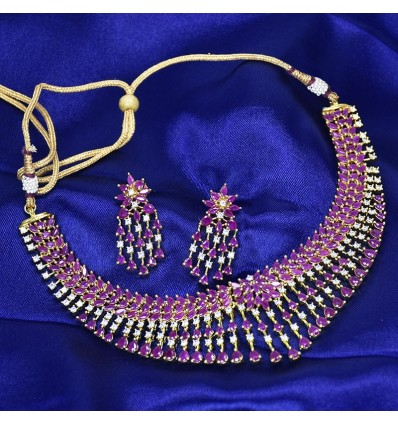 Stunning Premium Gold Plated Broad Stone Necklace Set