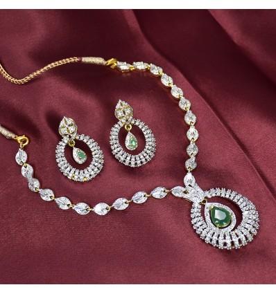 Premium AD and Emerald Necklace Set