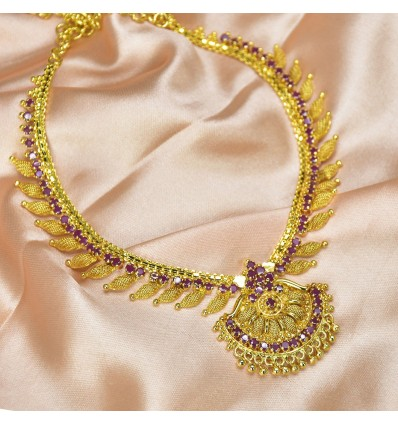 Magnificent Premium Gold Plated Ruby Stone Necklace