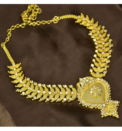 Gold Plated Designer Stone Leaf Net Necklace