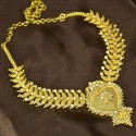 Gold Plated Designer Semi-precious Stone Leaf Net Necklace