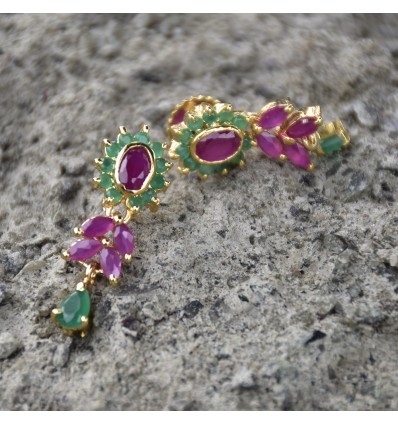 Gorgeous Ruby Emerald Floral Earrings