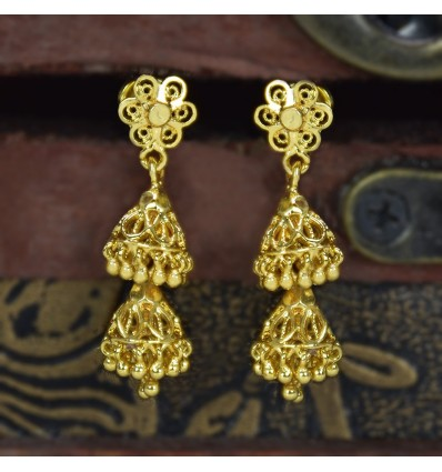 Gold Plated Small Two Step Jhumkas