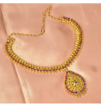 Ravishing Party Wear Gold Plated Ruby Stone Necklace