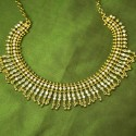 Gold Plated Stylish American Diamond Stone Necklace