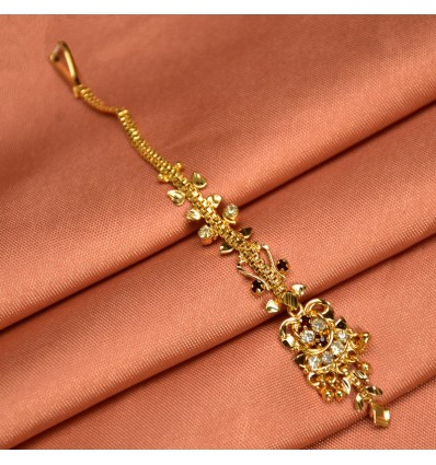 Gold Plated Red And White Stone Maang Tikka