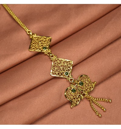 Gold Plated Net Green Maang Tikka|Nettichutti