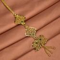 Gold Plated Net Green Maang Tikka|Nethichutti
