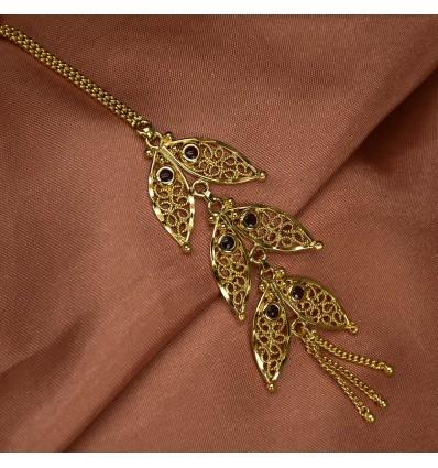 Gold Plated Net Leaf Maang Tikka|Nettichutti