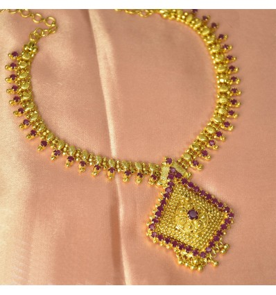Elegant Gold Plated Ruby Necklace With Designer Pendant