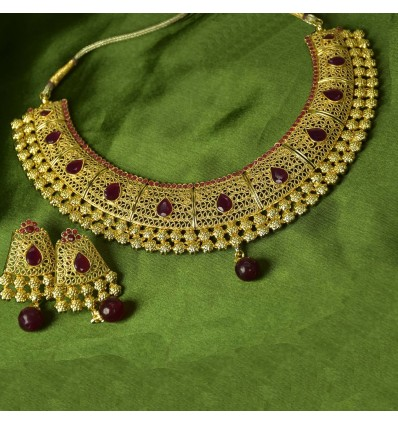 Traditional Gold Plated Bridal Necklace Choker Set