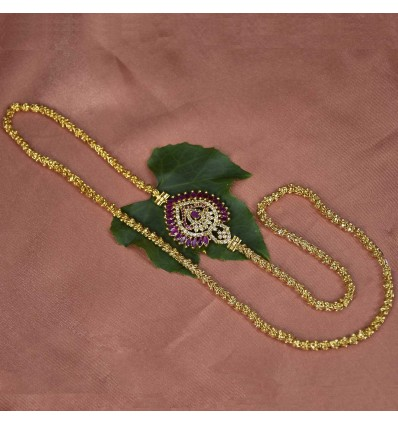 Gold Plated Aiswarya Chain with Ruby AD Side Pendant