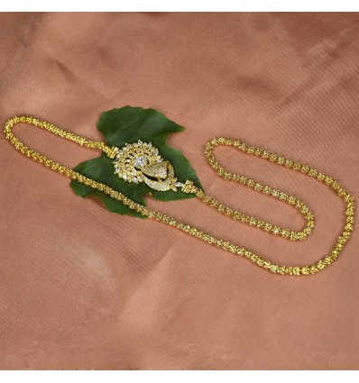 Gold Plated Aiswarya Chain with Peacock AD Side Pendant
