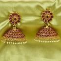 Gorgeous Antique Gold Plated Big Kemp Jimikki/Jhumka Earrings
