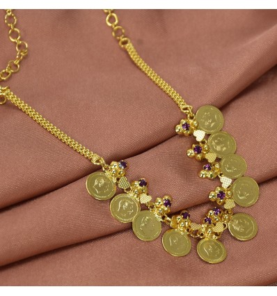 Gold Plated Head Coin Kasu Stone Necklace